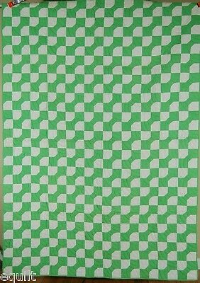 BEAUTIFUL Vintage 40's Green & White Bow Tie Patchwork Antique Quilt ~MINT COND!