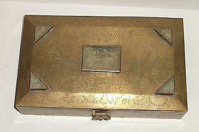 Old Chinese Bronze Metal Five Carved Jades Top Trunk Shape Wood Lined Box