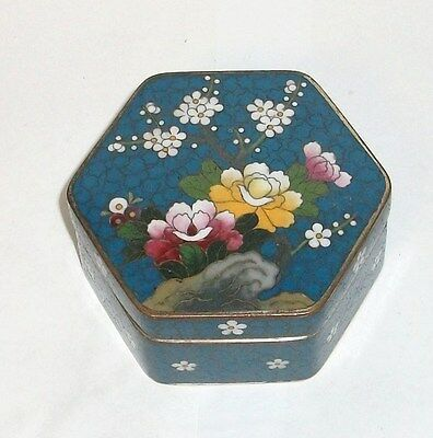 Rare Inaba Floral Bird Cloisonne Blue Enamel Hexagon Signed Box