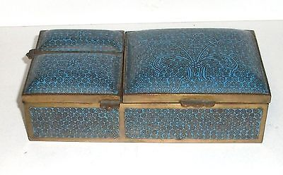 Rare Chinese Cloisonne Enamel Three Sided Match And Humidor Box