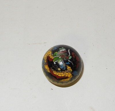 Rare Tiny Chinese Cloisonne Enamel Dragon Trinket Snuff Pill Box