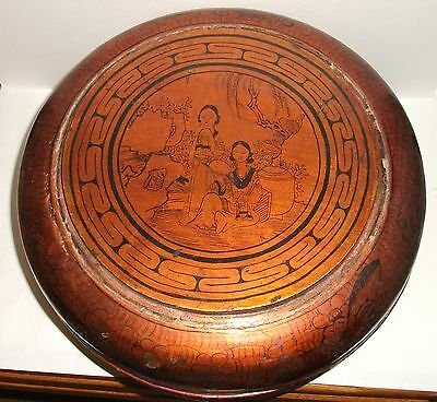 Huge Chinese Hand Made Lacquer Bowl Canister Box Signed