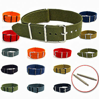 NATO Watch Strap Webbing Military Choice of colours and sizes Free Pins C046