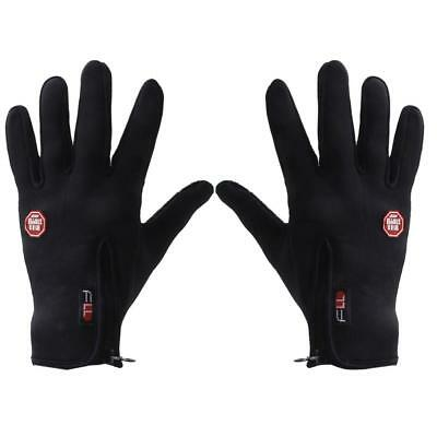 Black Windstopper PU Leather palm Warm Outdoor sport Gloves cycling Windproof