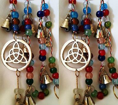 2 Triquetra Wind Chime Glass Bead String of Bells 75 cm