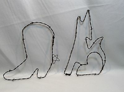 Set of 2 Rustic Barb Wire Country Barn Wall Art - Cowboy Boot and Howling Wolf