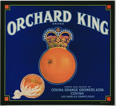 ORCHARD KING Vintage Covina Orange Crate Label, King, Crown, *AN ORIGINAL LABEL*