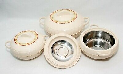 3pc Modern Food Warmer Storage Round Insulated Casserole Hot Pot Set
