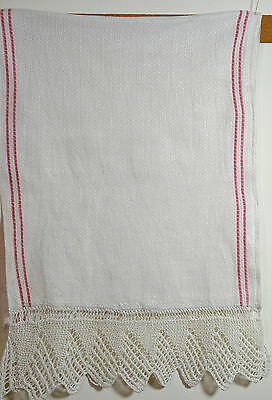 Beautiful Vintage Primitive German Linen Hand Towel With Crochet Edges Rr187