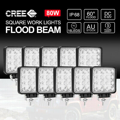 10PCS 80W CREE FLOOD LED Work Lights 12V 24V Boat Camping Square 4inch Bar