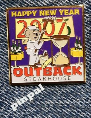 Outback Steakhouse hat lapel pin ~ Happy New Year 2007