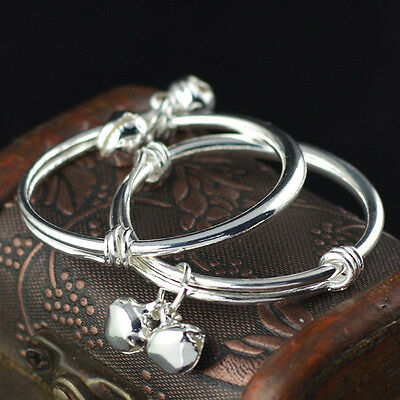 2pcs Charms 925 Sterling Silver Baby Kids Bangle Bells Bracelet Jewellery Gift N