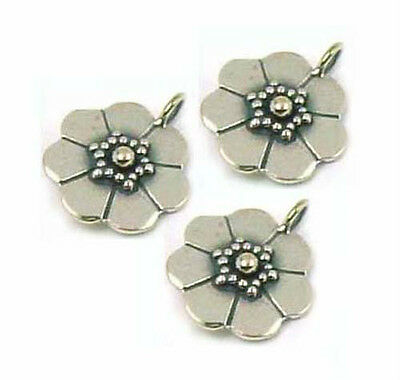 4pcs  Bali  solid 925 Sterling Silver Flower Charm Dangle small Pendant  D03