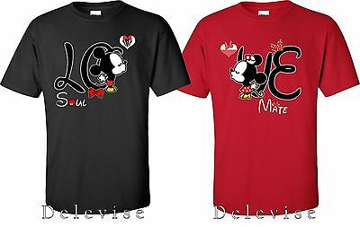 Mickey and Minnie Soul Mate Couple matching funny cute T-Shirts S-4XL