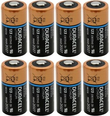 8 x Duracell DL123A CR123A Batteries Exp 2027 [Freshly Made in USA]