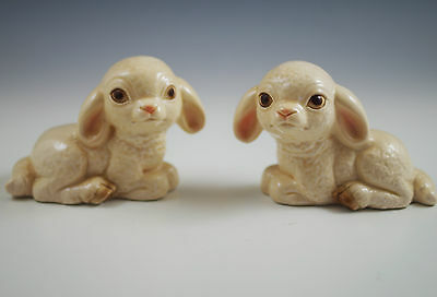 Vintage Goebel W.germany Pair -2 Sitting Baby Lambs Figurines # 32046 And 32048