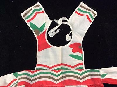 vintage full apron for child handmade white red green cotton 18 inches xmas bell