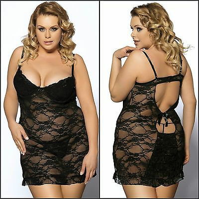 Women's Plus Size Mesh Lace Black Ruffled Under Wire Semi Stretch Lingerie Set
