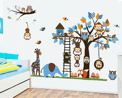 Monkey Animal Owl Tree Removable Vinyl Children Nursery Wall Sticker Kids Decor