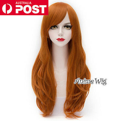 Long Wavy 70CM Orange Lolita Fashion Party Cosplay Wig + Wig Cap