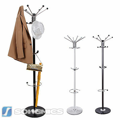 Marble Base Coat Rack Stand Hanger Hat Clothes Handbag Rack White/Black/Brown