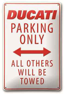 `Ducati parking only` Park Metallschild Blech Schild weiß rot metal plate