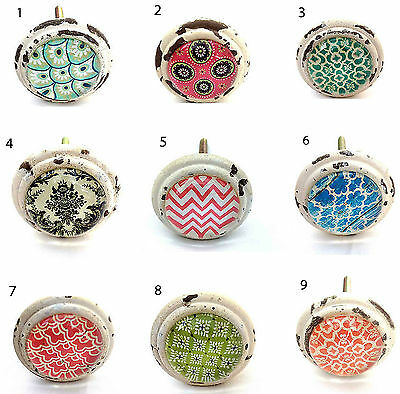 Shabby Chic Round Glass Ceramic Door Drawer Knobs Handle Cupboard Pull Knob