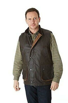 Sherwood Forest Suffolk Gilet sans manches ciré Marron Taille L [grand] NEUF