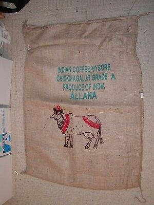 "Hard to Find Burlap Chickmagalur Coffee Bag, Sack, India 29""x41"" Brahma Bull"