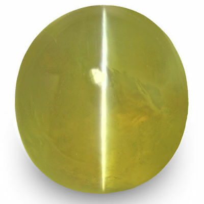 1.71-Carat Yellowish Green Chrysoberyl Cat's Eye from Ceylon (IGI-Certified)