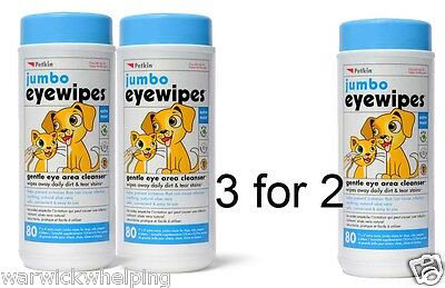 3 for 2 offer Petkin Jumbo Dog Pet Eye Wipes Pack of 80 **buy 2 get 1 free**