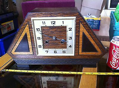 Beautiful Art Deco Mantel Large Clock with Pendulum Wooden Collectable