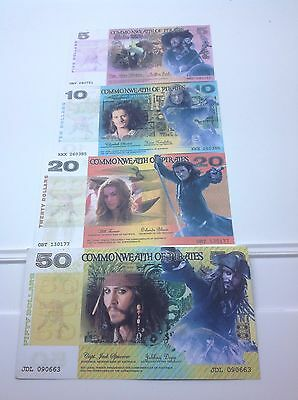 PIRATES OF THE CARRIBEAN Set Of 4 Novelty Banknotes Set - Xmas Gift Idea