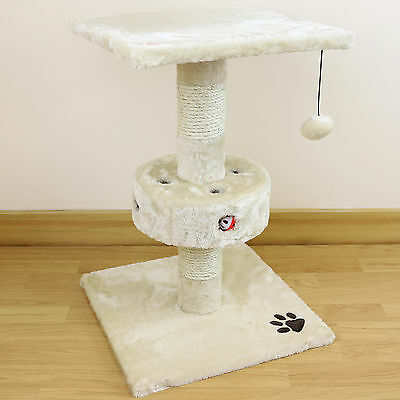 Cat & Kitten Cream Plush 2 Tier Play Centre & Scratching Post/Activity Centre