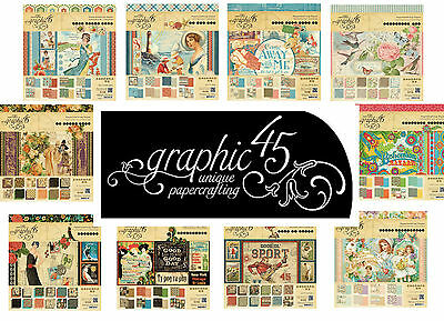 Graphic 45 - 12x12 Papers SAMPLE / TASTER PACKS Scrapbook papers - vintage style