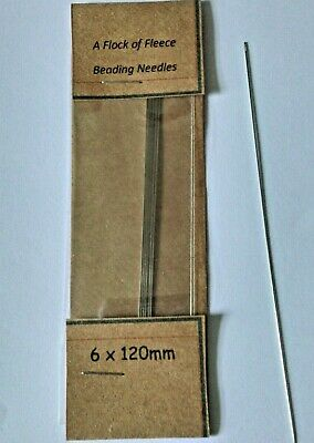 PACK OF 6 LONG BEADING NEEDLES 120 mm x 1 mm  FOR BEADWEAVING BEAD CRAFT NEEDLE