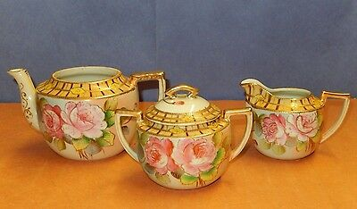 Vintage 3 Piece Set Imperial Nippon Hand Painted Floral China W/ Moriage Beading