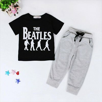 Toddler Kids Baby Boys T-shirt Tops + Long Pants Trousers Clothes Outfits Sets