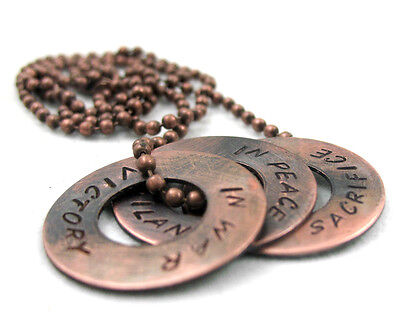 Dragon Age Inspired Necklace - Antiqued Copper Hand Stamped Washer Pendants