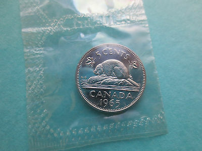 1965 Canadian Nickel ~ Proof Like Uncirculated Canada Coin ~ Sealed from Set
