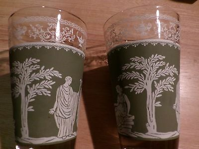 6 Vintage Egyptian Style Drinking Glasses Green