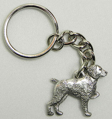 Brittany Dog Keychain Keyring Harris Pewter Made USA Key Chain Ring