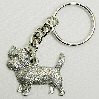 Cairn Terrier Dog Keychain Keyring Harris Pewter Made USA Key Chain Ring