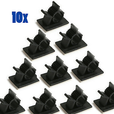 10x Car Wire Tie Rectangle Cable Holder Organizer Mount Clip Clamp Self-Adhesive