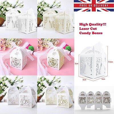Luxury Wedding Laser Cut Candy Cake Gift Favors Boxes With Ribbon Party Lovely