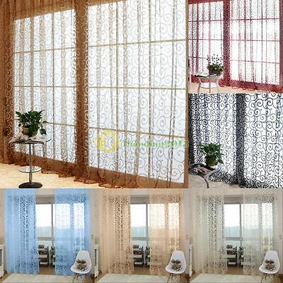 Sweet Solid Floral Tulle Voile Door Window Curtains Drape Sheer Scarf Valances