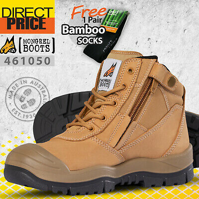 Mongrel Work Boots Side Zip Safety Steel Toe Wheat Scuff Cap  Security 461050