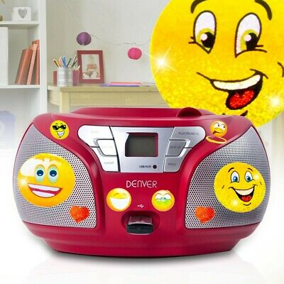 Stereo Radio Boombox Party Musik Anlage CD Player USB AUX MP3 Smiley Aufkleber