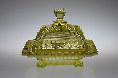 c. 1897 ALASKA by Northwood CANARY OPAL VASELINE Butter w/Cover w/HP Decoration