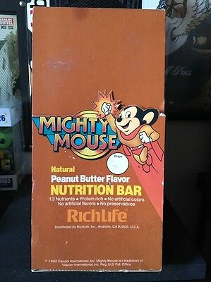 VINTAGE 1982 MIGHTY MOUSE NUTRITION BAR DISPLAY Box EXTREMELY RARE!!